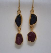 Earring With Natural Rough Ruby And Amethyst Stone Dangler