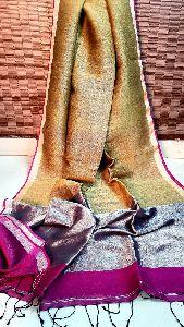 Pure Linen Cotton Saree With Zari