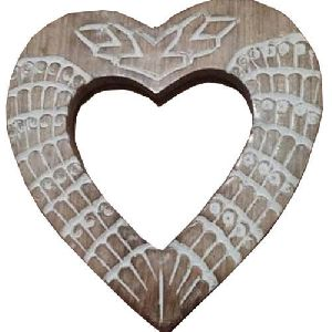 Wooden Heart Shaped Mirror Frame