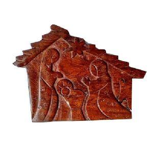 Wooden Hut Shaped Puzzle Box