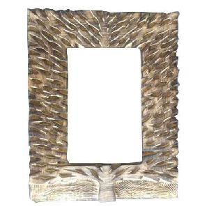 Wooden Leaf Design Mirror Frame