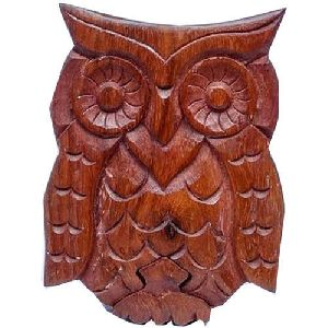 Wooden Owl Shaped Puzzle Box