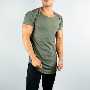 Elastane Military Green Fitness Mens T-shirt