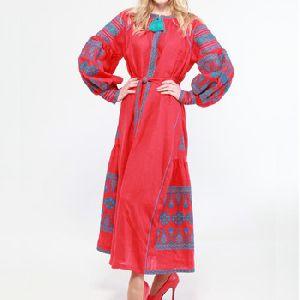 Bright Red Ukrainian Long Dresses 100% Cotton