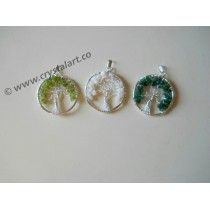 Silver Tree Of Life Mix Agate Stone Pendants