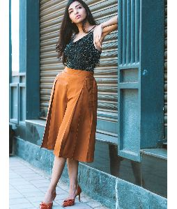 Brown Box Pleat Adjustable Culottes