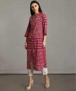 Pink Handloom Cotton Check Kurti