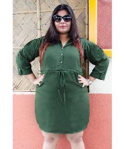Uptownie Plus Green High Neck Buttoned Dress