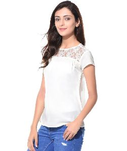 White Lace Neck Crepe Top