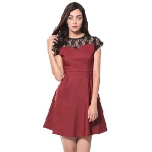 Wine Solid Lace Detailed Skater Dress