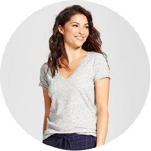 Women V Neck T-shirt
