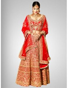 Designer Red Silk Embroidered Bridal Lehenga