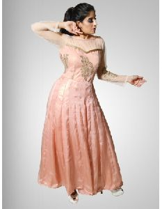 Peach Gown For Ladies For Party Wear
