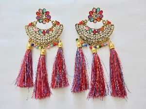 Colourful Tassel Jhumka Earrings With White & Multicolour Stone