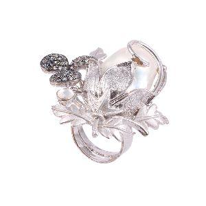 Diamond Studded Finger Statement Ring