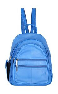 Blue Genuine Leather Backpack
