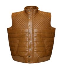 Satin-lined Quilted Lambskin Leather Vest