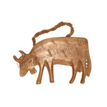 Christmas Decoration Wooden Handmade Bull Hanging Ornaments