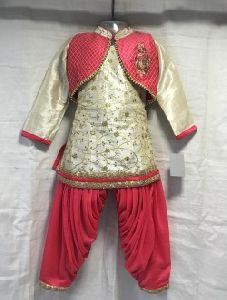 Golden Silk Casual Wear Embroidery Work Kids Patiala Style