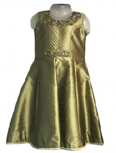 Green Silk Party Wear Embroidery Work Kids Gown
