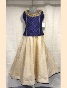 Navy Blue Silk Wedding Wear Embroidery Work Kids Lehenga Choli
