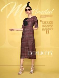 Regular Wear Handlooom Khadi Checks Printed New Fancy Kurtis