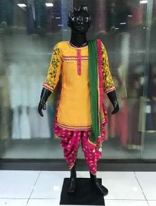 Yellow Cotton Festival Wear Lace Work Kids Dhoti Suit