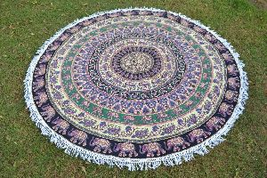 Cotton Mandala Beach Tassels Blue Color Roundie Tapestry Towel