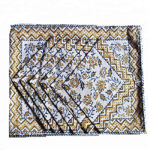 Indian Cotton Fabric Block Print Dinner Table Cloth Mat