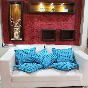 Mirror Work Decorative Blue Colour Square Cushion Covers