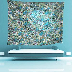 Indian Embroidered Floral Printed Blue Color Tapestry