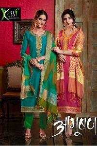 Aabhushan By Kessi  Banarasi Dupatta Suit
