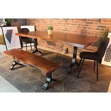 Acacia Wood Live Edge Straight Cut Dining Table