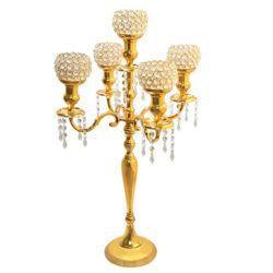 5 Arm Gold Candelabra With Crystal Votives And Dangles