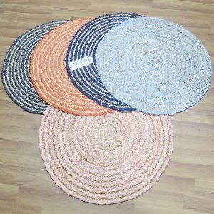 Colorful Decorative Cotton Round Braided Jute Placemat