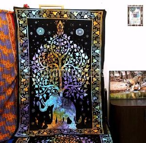 Indian Elephant Border Mandala Wall Hanging Home Decorative Wall Tapestry