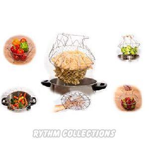Multipurpose Foldable Chef Steel Basket Kitchen Tool Deep Fat Fryers