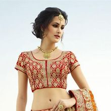 Pink-red Pure Silk Heavy Embroidery Work Designer Bridal Lehenga
