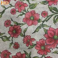 New Fashion Floral Jute Cotton Canvas Fabric For Bags, Curtains