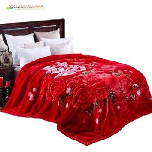 Stylish Printed Floral Double Mink Blanket