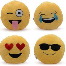 Yellow Round Velvet Stuffed Plush Soft Toy Emoji Cushion