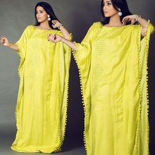 Neon Green With Eyelet Machine Embroidered Kaftan