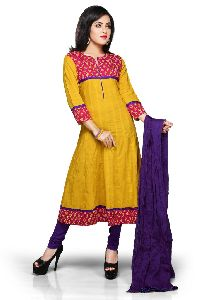 Yellow And Fuchsia Cotton Readymade Anarkali Churidar Suit