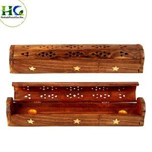Wooden Coffin Brass Inlaid Storage Compartment Ash Catcher Holder Incense Burner