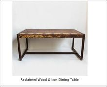Reclaimed Wood and Iron Dining Table