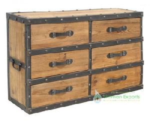 Solid Wood Industrial Chest Of Drawers Cabinet Living Room Furnitur