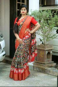 Bolly Wood Designer Cotton Saree Zari Broder With Unstiched Running Blouse