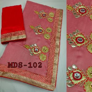 Mds - 102 Vichitra Silk Saree With Dhupian Blouse