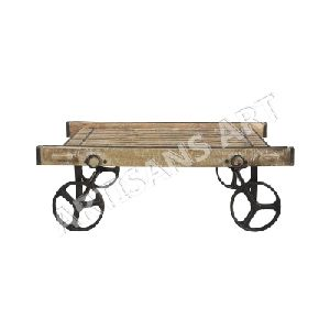 Antique Vintage 4 Wheels Coffee Table