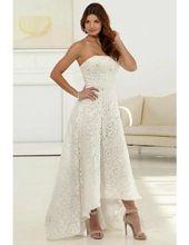 Tea Length Strapless Wedding Gown